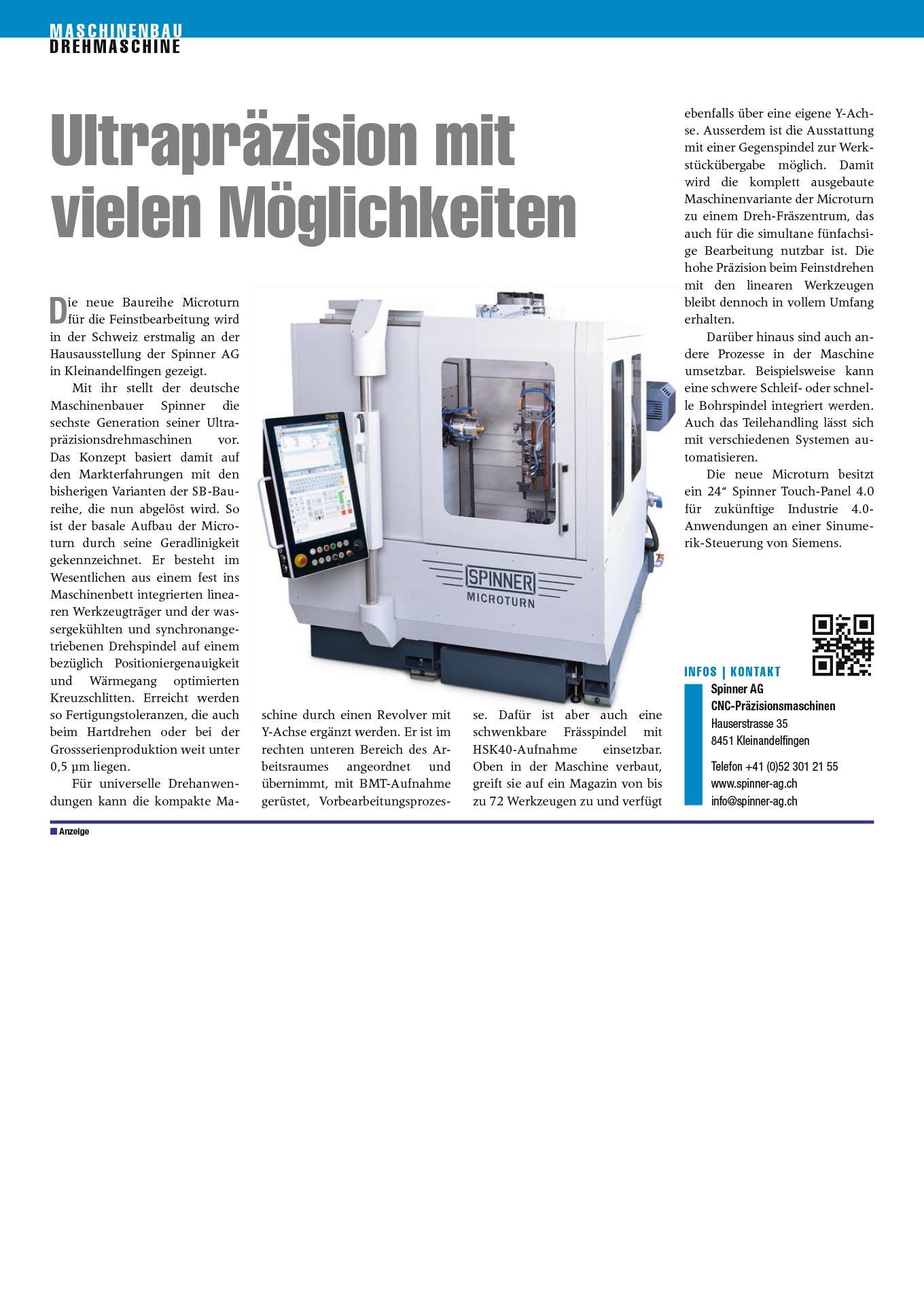 Spinner AG - Pressebericht Maschinenbau Ausgabe 10/2018
