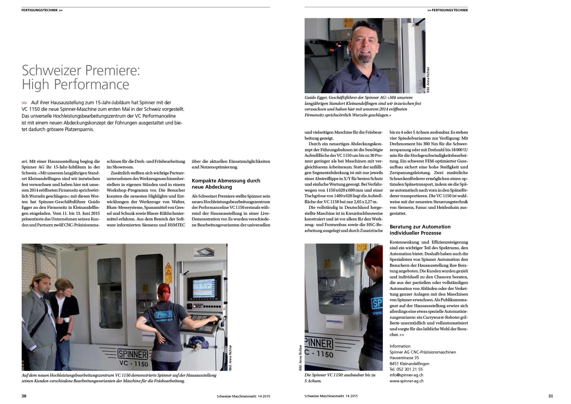 Spinner AG - Pressebericht Schweizer Maschinenmarkt Ausgabe 14/2015