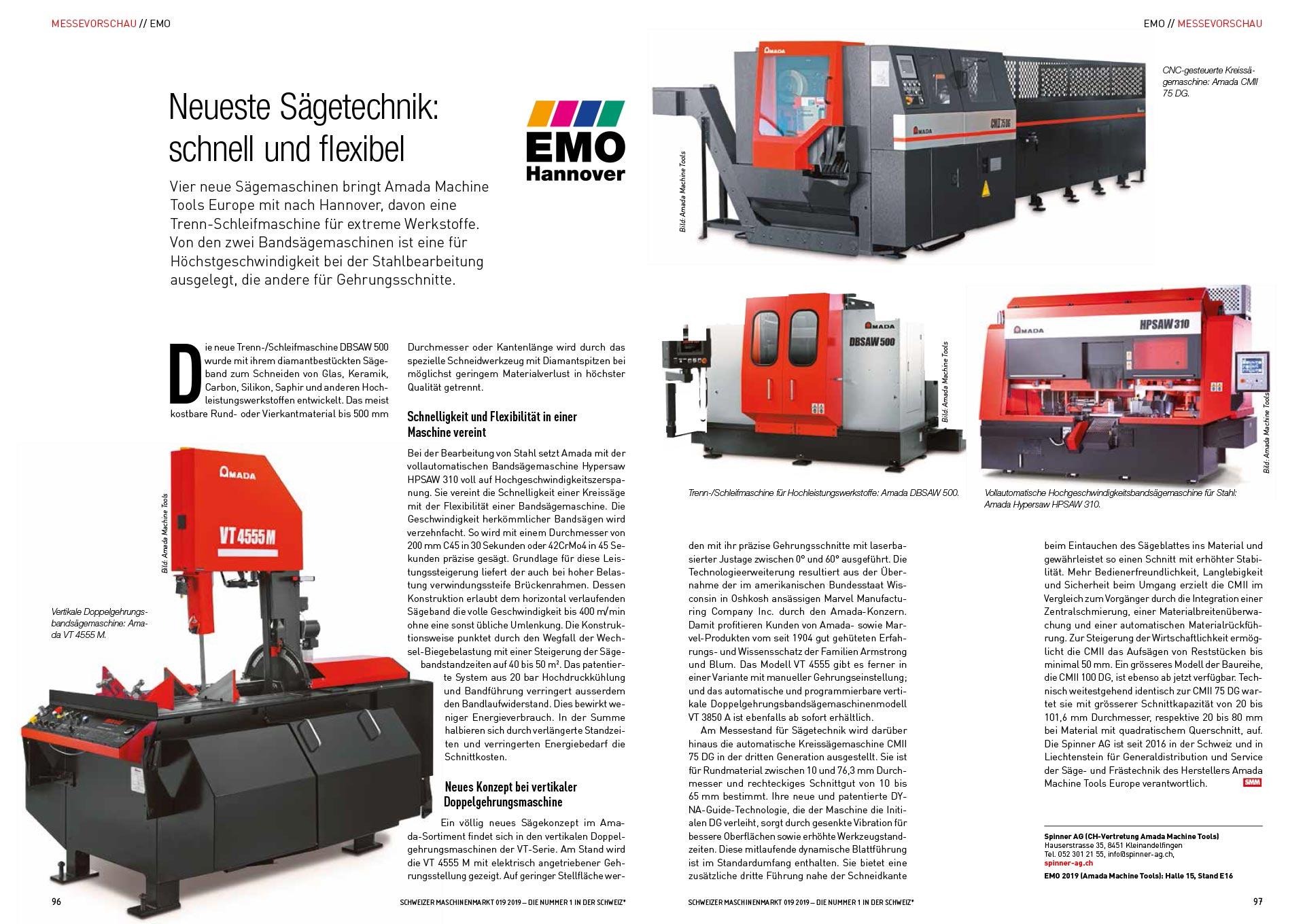 Spinner AG - Pressebericht Schweizer Maschinenmarkt Ausgabe 19/2019