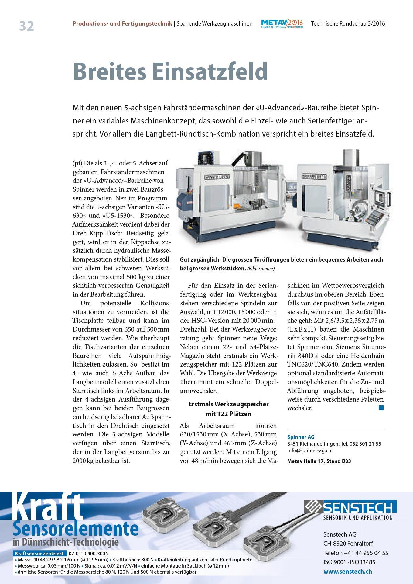 Spinner AG - Pressebericht Technische Rundschau Ausgabe 02/2016