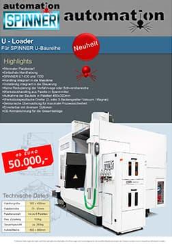 Spinner AG - Spinner automation GmbH – Vorschau Prospekt Internes Teilehandling für die U-Baureihe mit dem U-Loader