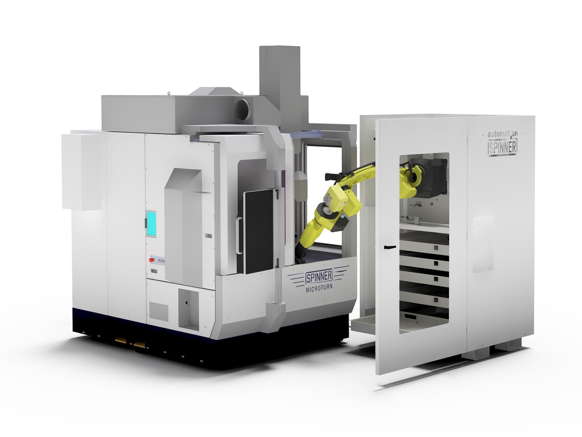 Spinner AG - Visualisierung Robobox mit Ultrapräzisionszentrum Spinner Microturn