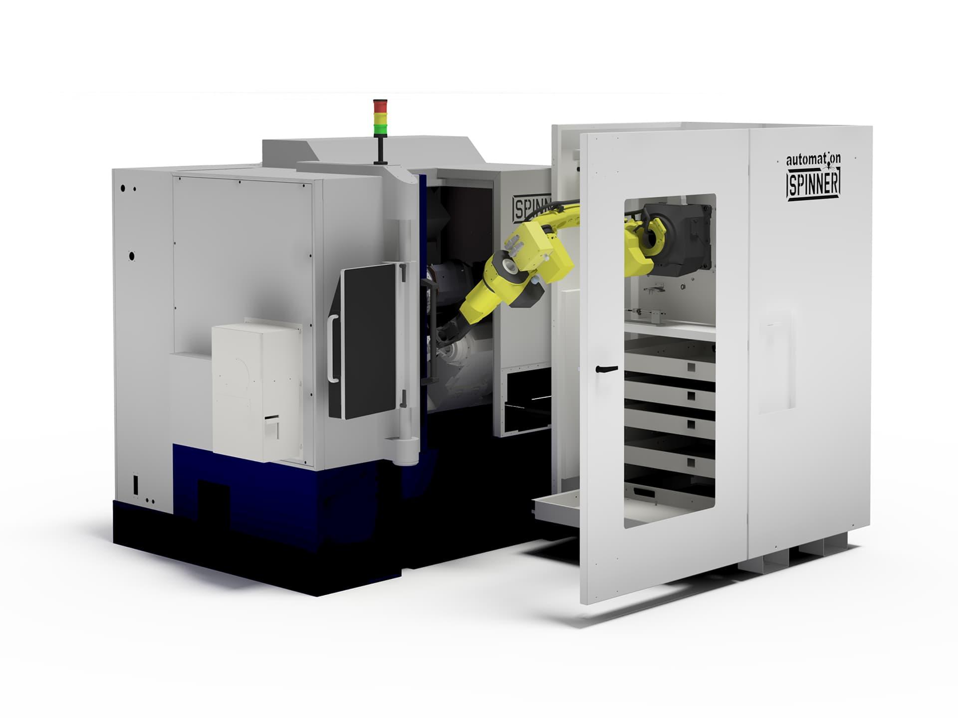 Spinner AG - Visualisierung Robobox mit Universaldrehmaschine Spinner TC300