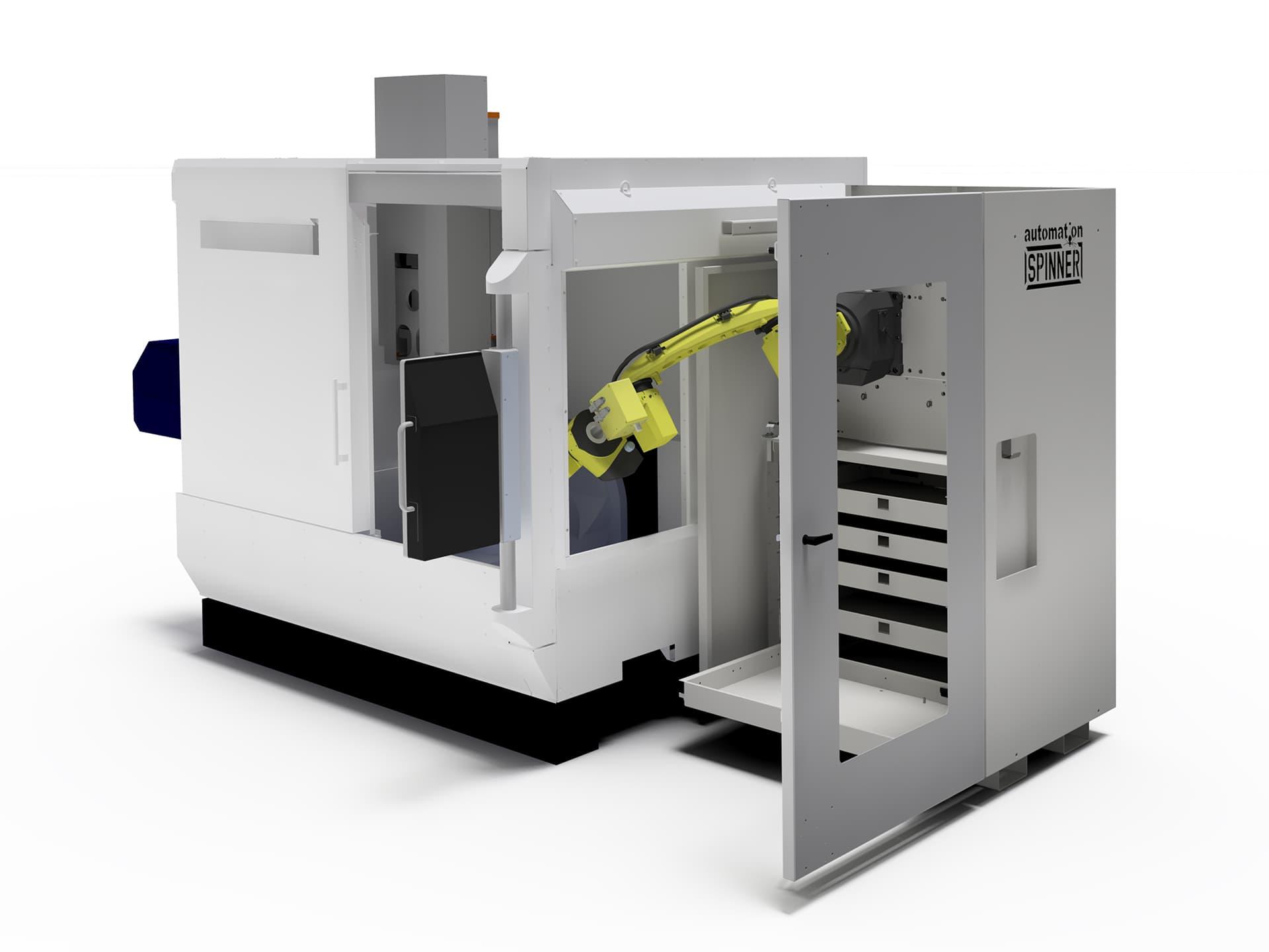 Spinner AG - Visualisierung Seitenansicht Robobox mit 5-Achs-Bearbeitungszentrum Spinner U5