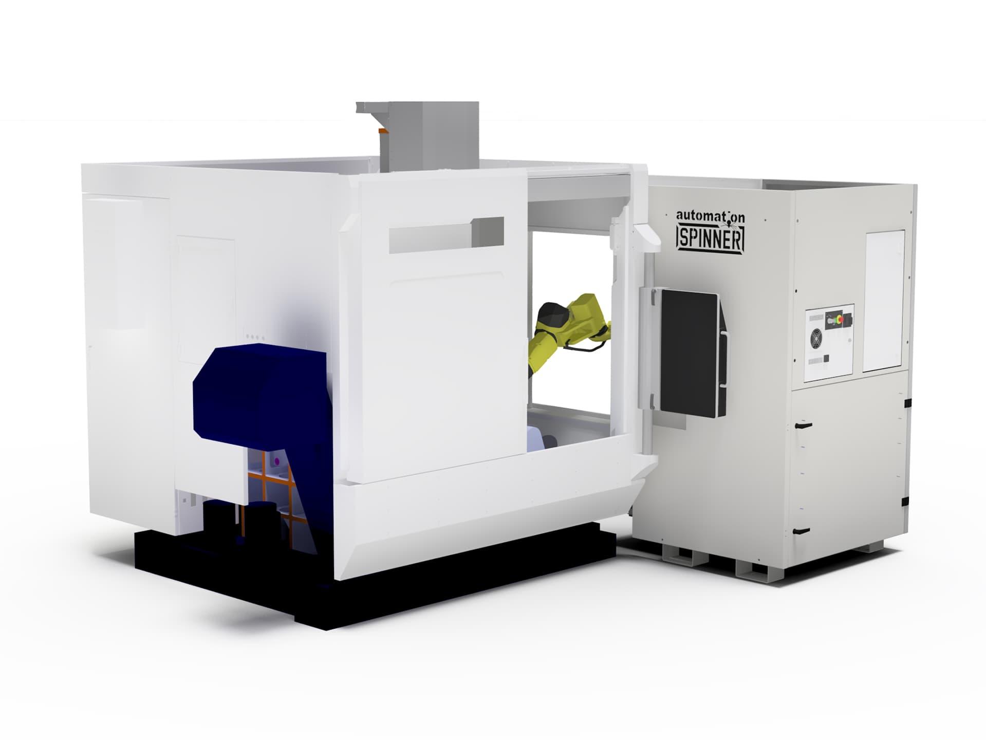 Spinner AG - Visualisierung Rückseite Robobox mit 5-Achs-Bearbeitungszentrum Spinner U5