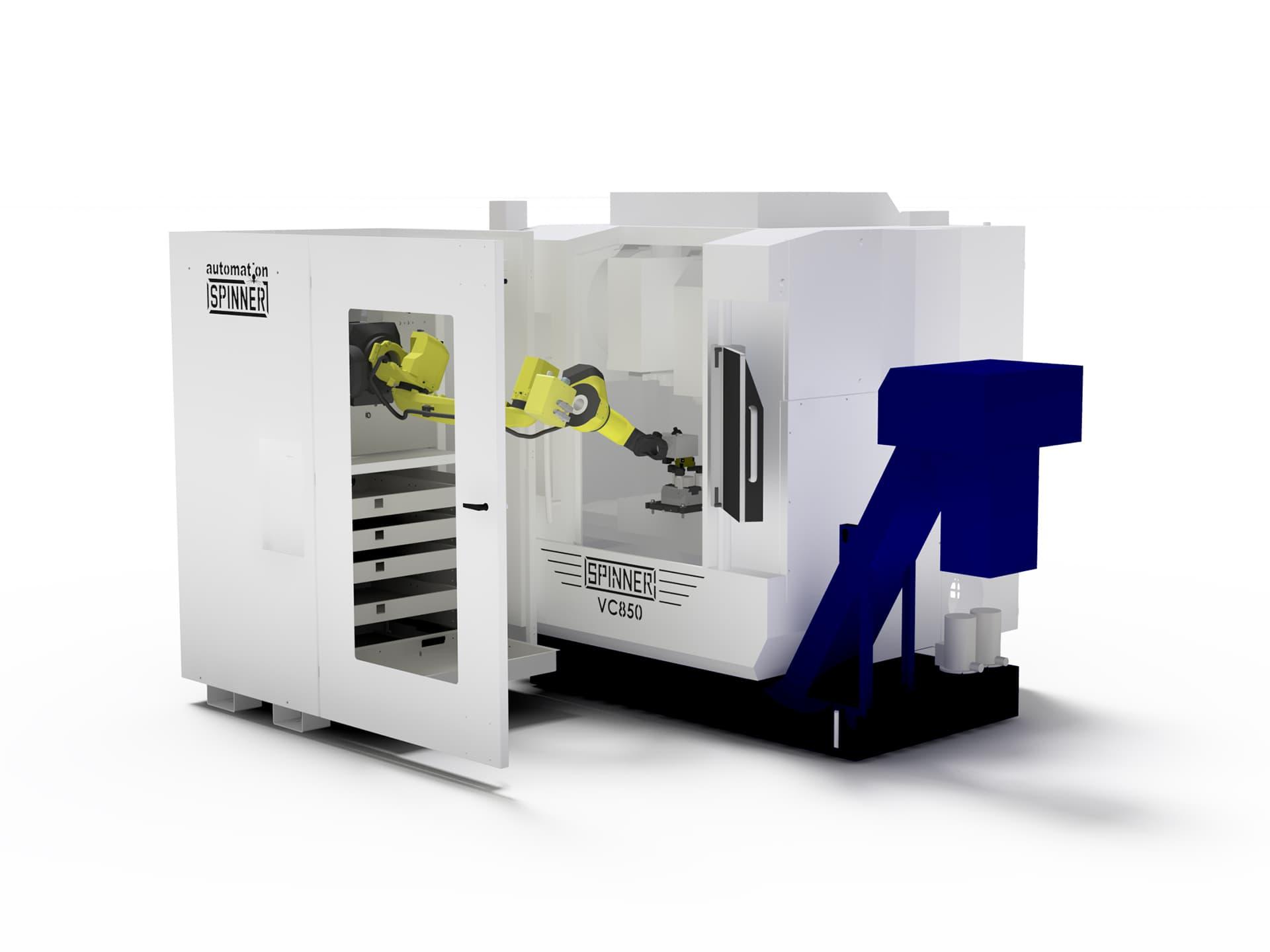Spinner AG - Visualisierung Robobox mit Bearbeitungszentrum Spinner VC850