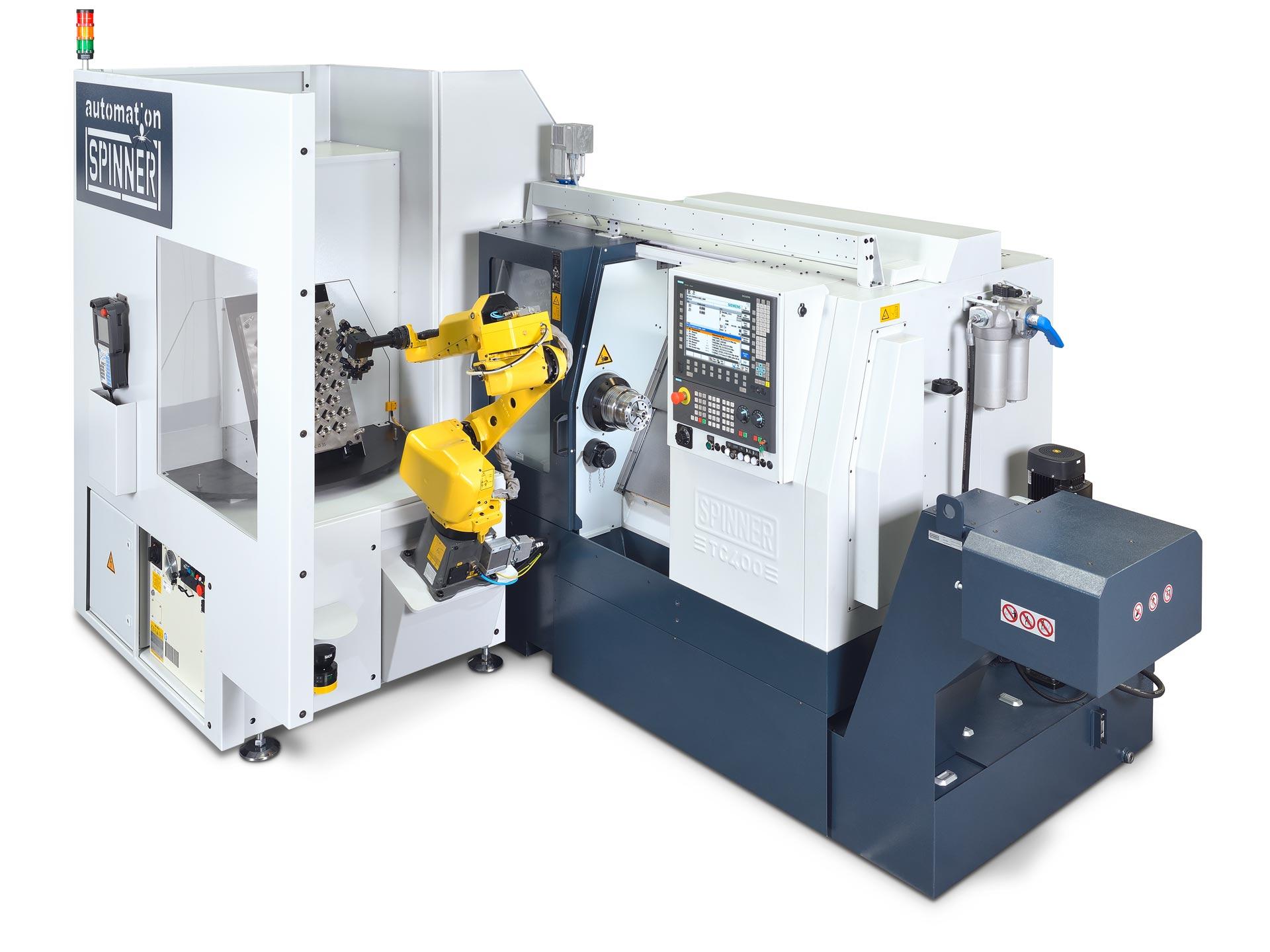 Spinner AG - leistungsstarke Universaldrehmaschine TC400 - mit Universalroboterzelle