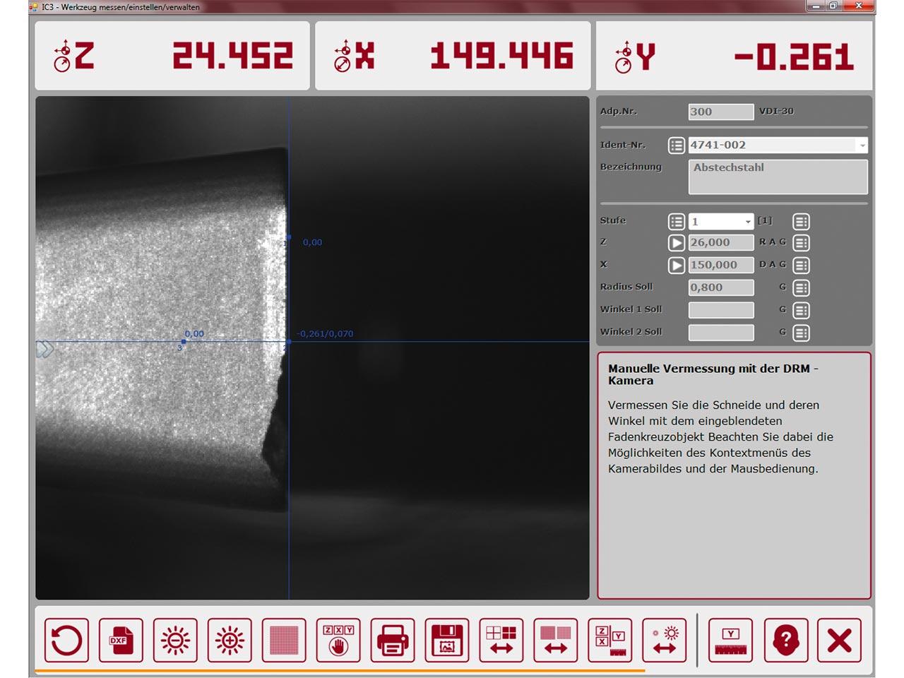 Spinner AG - EZset ImageController3 Bildschirmanzeige für manuelles Vermessen mit Kamera